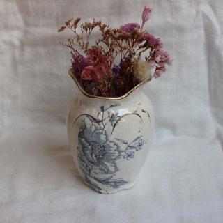 vintage ceramic blue flower vase/ビンテージ  陶器 ブルー花柄 フラワーベース 花瓶(706)