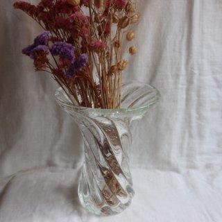 Vintage glass flower vase/ビンテージ クリアガラス フラワーベース/花器/花瓶(707)