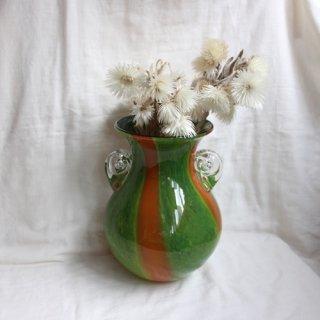 Vintage glass flower vase/ビンテージ ガラス フラワーベース グリーン×オレンジ/花器/花瓶(708)
