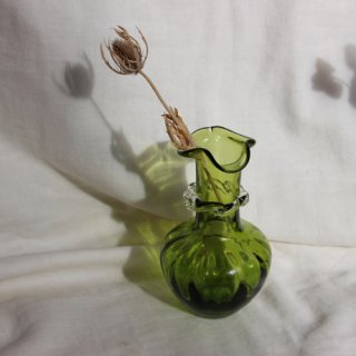Vintage mini green glass flower vase/ビンテージ ガラス ミニフラワーベース /花器/花瓶(711)