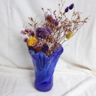 Vintage blue glass flower vase/ビンテージ ブルー フラワーベース /花器/花瓶(713)