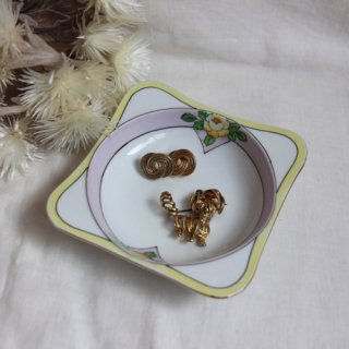 vintage mini square plate /ビンテージ 陶器 イエロー×ピンク 花柄 小皿 ミニプレート(714)