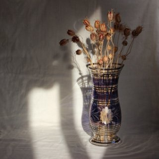 Vintage glass flower vase/ビンテージ チェコ ガラス フラワーベース/花器/花瓶(725)