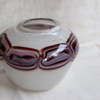 Vintage glass flower vase/ビンテージ ガラス フラワーベース ホワイト×パープルピンク/花器/花瓶(728)