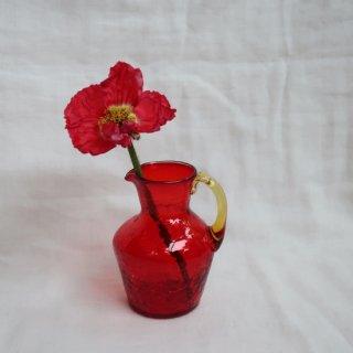 Vintage mini red glass flower vase/ビンテージ ガラス ミニフラワーベース /花器/一輪挿し(733)