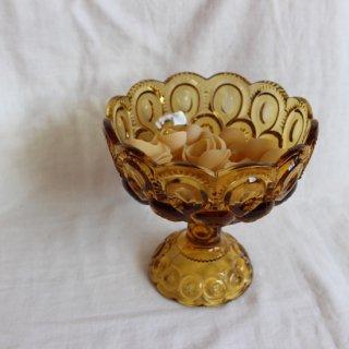 vintage amber Glass candy bowl/ビンテージ アンバー ガラス キャンディー ボウル/小物入れ(734)
