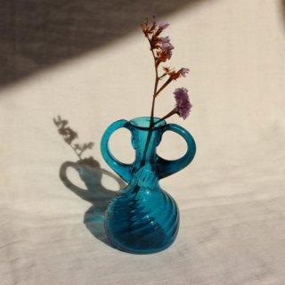Vintage mini blue glass flower vase/ビンテージ ガラス ミニフラワーベース /花器/一輪挿し(738)