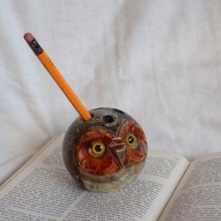 vintage owl stone pen stand/フクロウモチーフ ストーン ペン立て(740)