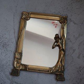 vintage small mirror/ビンテージ 真鍮 スモール ミラー(741)