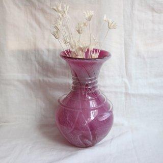 Vintage pink glass flower vase/ビンテージ ピンク ガラス フラワーベース/花器/花瓶(744)