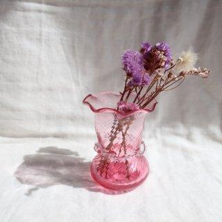 Vintage mini blue glass flower vase/ビンテージ ガラス ミニフラワーベース /花器/一輪挿し(747)