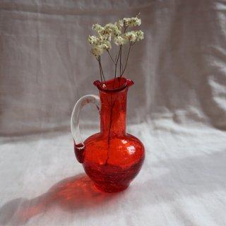 Vintage mini red glass flower vase/ビンテージ ガラス ミニフラワーベース /花器/一輪挿し(749)