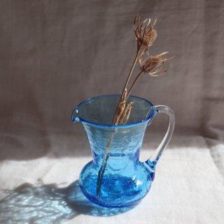 Vintage mini blue glass flower vase/ビンテージ ガラス ミニフラワーベース /花器/一輪挿し(750)