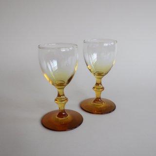 vintage amber glass/ビンテージ アンバー カラー グラスA(751)