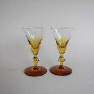 vintage amber glass/ビンテージ アンバー カラー グラスB(752)