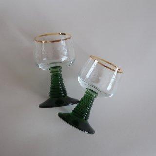 vintage green grape glass/ビンテージ グリーン×グレープ柄 グラス(753)