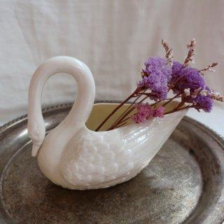 Vintage ceramic swan flower vase/ビンテージ 陶器 スワン フラワーベース/花瓶(756)