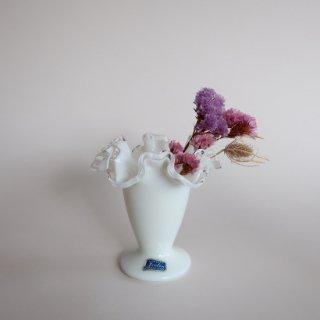 Vintage Fenton ruffle mini flower vase/ビンテージ フェントン社 ミルクグラス ミニフラワーベース/花器/花瓶(759)