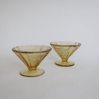 vintage amber glass/ビンテージ アンバー グラス/アイスクリームカップ(760)