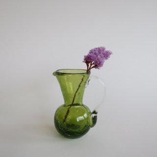 Vintage mini green glass flower vase/ビンテージ ガラス ミニフラワーベース /花器/一輪挿し(766)