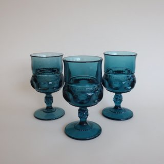 Vintage Indiana Glass Kings Crown Thumbprint Wine Goblet Blue/ビンテージ インディアナグラス社ゴブレット・グラス(771)