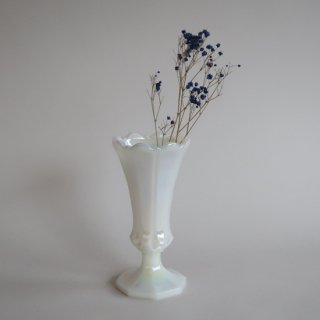Vintage milk glass flower vase/ビンテージ ミルクガラス フラワーベース/花器/花瓶(784)
