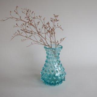 Vintage light blue glass flower vase/ビンテージ ライトブルー フラワーベース/花器/花瓶(785)