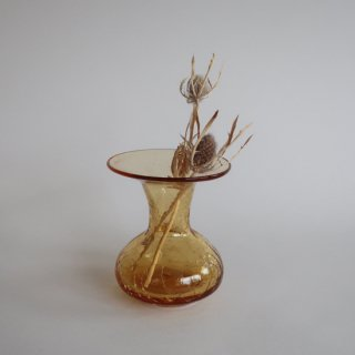 Vintage mini amber glass flower vase/ビンテージ アンバー ガラス ミニ フラワーベース /花器/一輪挿し(797)