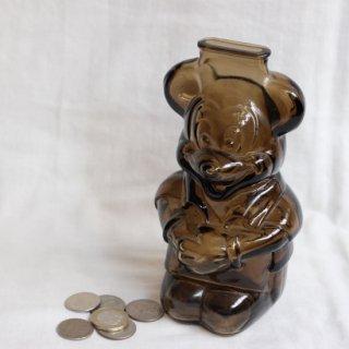 vintage1960's Mickey glass piggy bank/ビンテージ ミッキー ガラス 貯金箱(800)