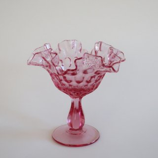 vintage Fenton Thumbprint Colonial Pink Double Crimped Comport 60's/ビンテージ フェントン社製 コンポート(801)