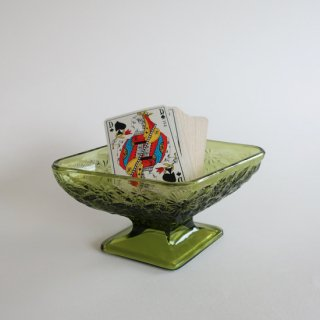 Vintage Green Diamond Shaped Footed Pedestal Candy Dish/ビンテージIndiana Glass社製 キャンディポット(807)