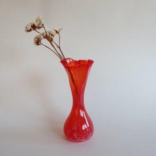 Vintage red marble glass flower vase/ビンテージ レッド マーブル ガラス フラワーベース /花器/花瓶(812)