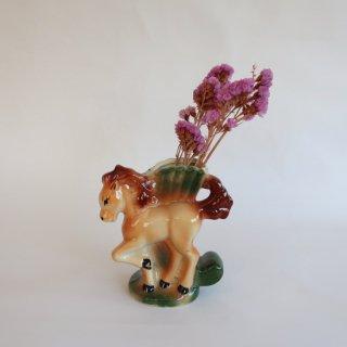 Vintage ceramic flower vase horse motif/ビンテージ 陶器 馬モチーフ フラワーベース/花瓶(813)