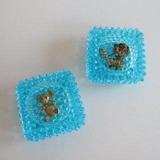 Vintage Fenton Aqua Blue Hobnail Salt Cellar/ビンテージ フェントン ホブネイル ミニ 小皿(815)