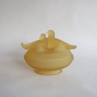 vintage yellow glass birds candy pot/ビンテージ イエローガラス 鳥モチーフ キャンディポット/ 小物入れ(823)