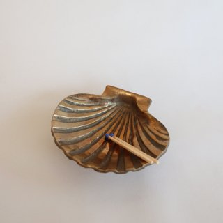 vintage shell motif brass tray/ビンテージ 真鍮 シェル トレー/小物入れ/灰皿(824)