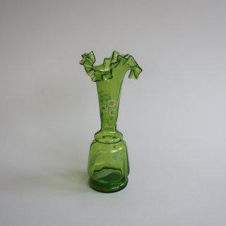 Vintage Green Ruffled Top flower vase/ビンテージ グリーンガラス 花柄 フラワーベース /花器/花瓶(827)
