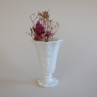 Vintage milk glass flower vase/ビンテージ ミルクガラス フラワーベース grape柄/花器/花瓶(829)