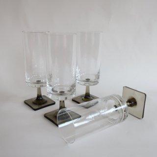 vintage smoke square foot glass L/ビンテージ スモークガラス スクエアフット グラスL(833)