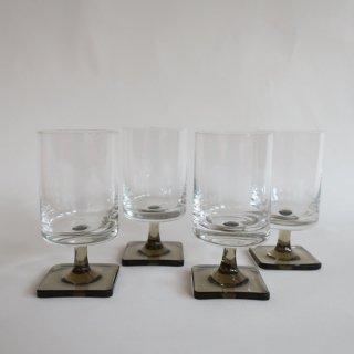 vintage smoke square foot glass S/ビンテージ スモークガラス スクエアフット グラスS(834)