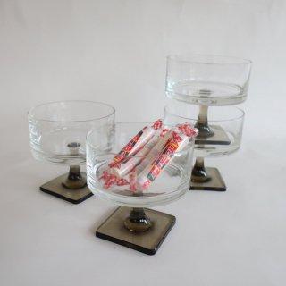 vintage smoke square foot glass sherbet/ビンテージ スモークガラス スクエアフット グラスシャーベット(835)