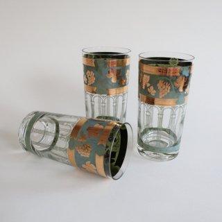 vintage 50's gold×green grape glass/ビンテージ 1950s 葡萄モチーフ タンブラー グラス(840)
