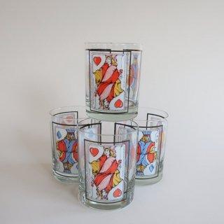 vintage trump motif glass/ビンテージ トランプ柄モチーフ ロック グラス(841)