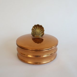 vintage shell motif copper color small box/ビンテージ 貝モチーフ 小物入れ(851)