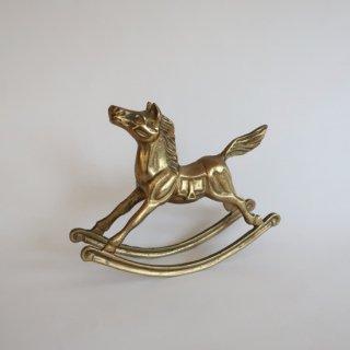 Vintage horse motif brass object/ビンテージ 真鍮 木馬モチーフ オブジェ(852)