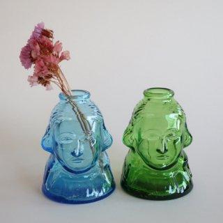 Vintage Blue Glass George Washington Head Bottle/ビンテージ ジョージワシントン モチーフ ガラスボトル/花器/一輪挿し(853)