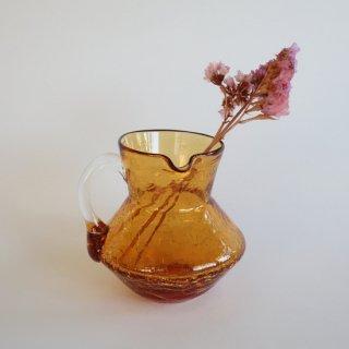 Vintage small amber glass flower vase/ビンテージ ガラス スモール フラワーベース /花器/一輪挿し(858)
