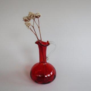 Vintage red glass flower vase/ビンテージ レッド ガラス フラワーベース /花器/花瓶(859)