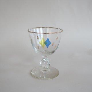 Vintage 50's Gold Atomic Design Glass Yellow×Blue/ビンテージ  アトミック柄 グラス 黄×青(861)