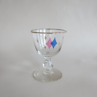 Vintage 50's Gold Atomic Design Glass Pink×Blue/ビンテージ  アトミック柄 グラス ピンク×青(862)